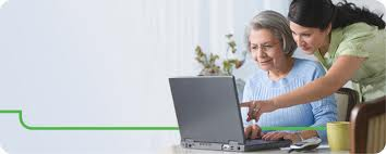 Patient reviewing their online medication record with a clinician